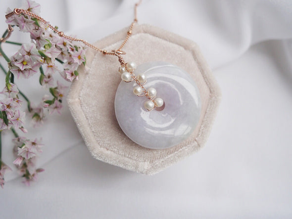 Lavender Jade with Pearl Vine Necklace