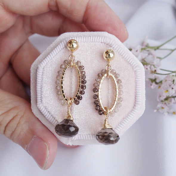 Elliptical Smoky Quartz Earrings