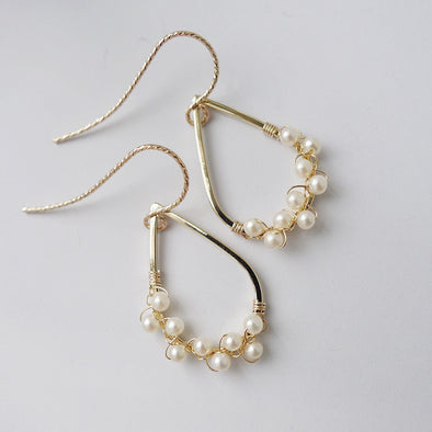 Teardrop Frame with Pearl Vine Earrings