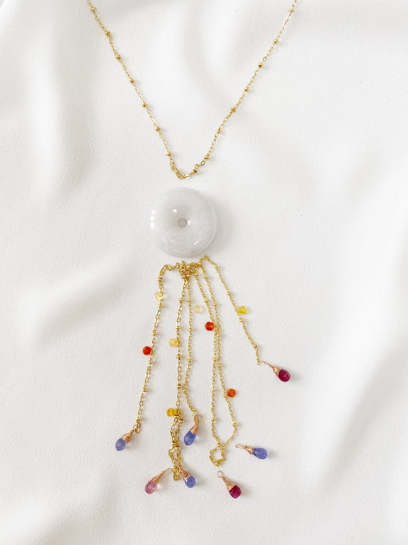 White Jade with Tanzanite and Pink Tourmaline Tassel Necklace