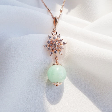 Green Jade with Snow Pendant Necklace