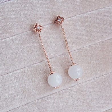 Intricate Stud and Dangling Snow Jade Earrings