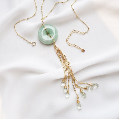 Jade with Green Amethyst Tassel Necklace