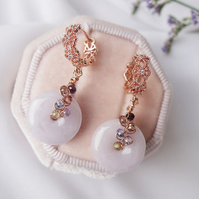 Intricate Ear Hoops and Lavender Jade with Tunduru Sapphire Vine