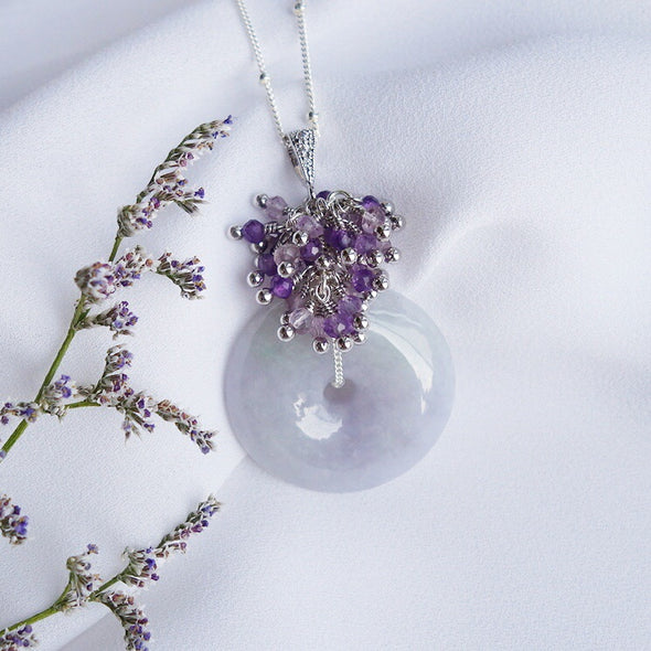 Lavender Jade Necklace with Amethyst Cluster
