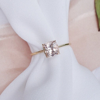 Square Morganite Solitaire Ring - 14K Yellow Gold MSR2Y90