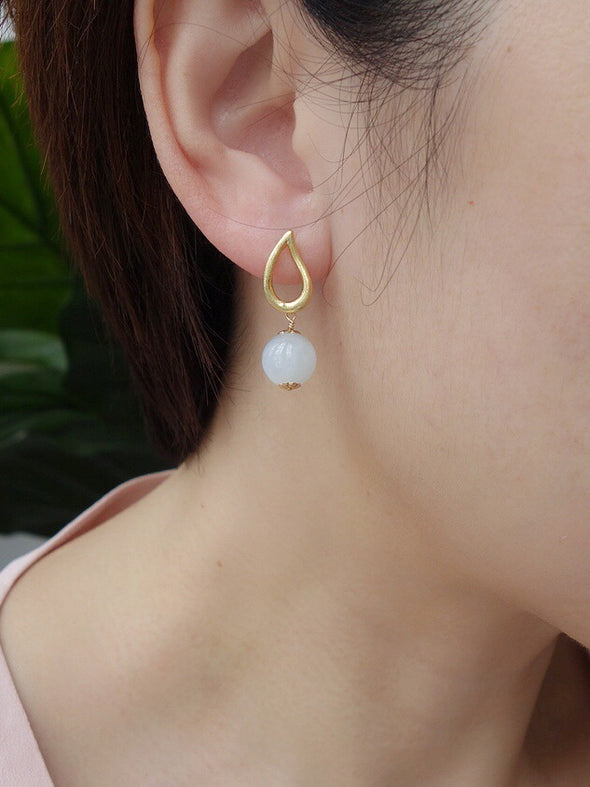 Teardrop Ear Studs with Seafoam Green Jade