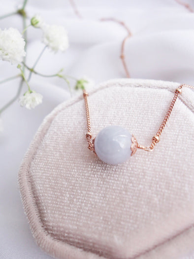Floating Lavender Jade Necklace - Ball Chain