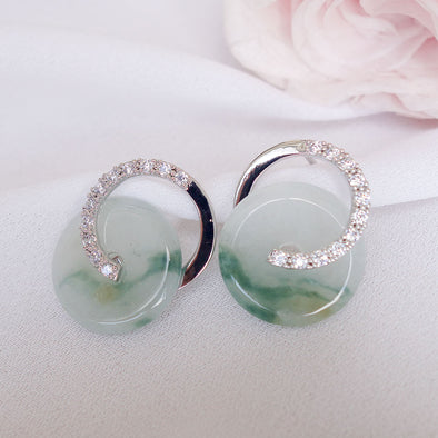 Cross Loop Jade Ear Studs JJS16