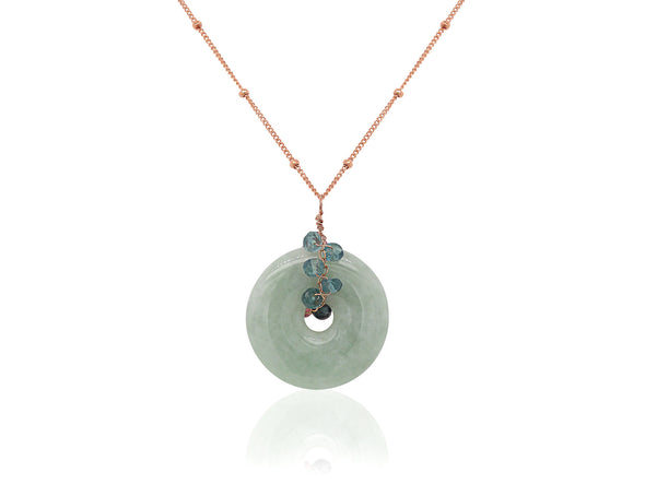 Jade with Dual-tone Tourmaline Vine Necklace