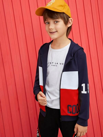 Gutter Brev Grafisk Colorblock Hooded Jakke