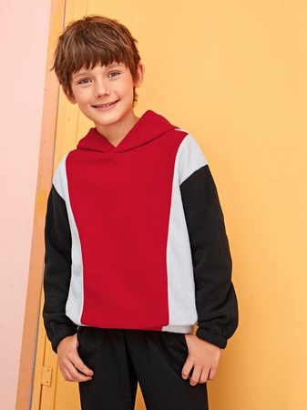 Gutter Color-Block Fleece Hettegenser