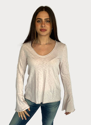 Bell Sleeve V-Neck Top