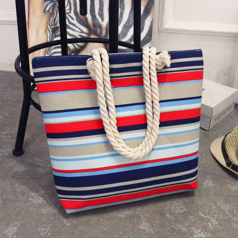 Women's Canvas Bohemian Style Striped Tote Bags