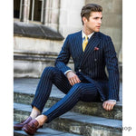 Men's Navy Striped Tuxedo