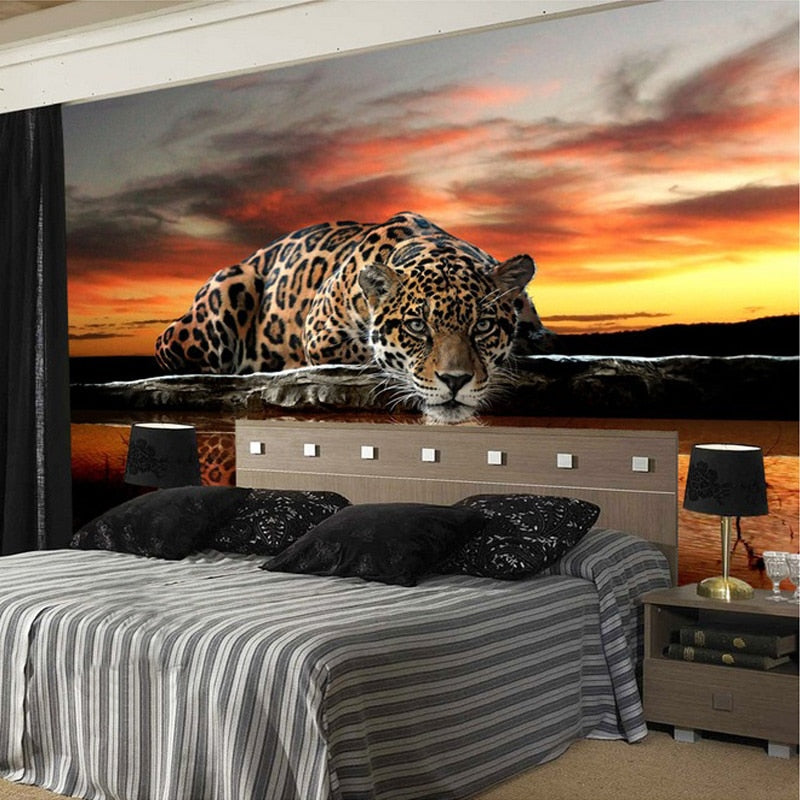 Stylish Cool Trendy 3D Leopard Wall Mural