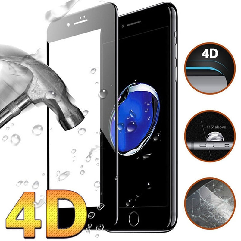 Curved Edge Full Cover Tempered Glass for iphone 4D
