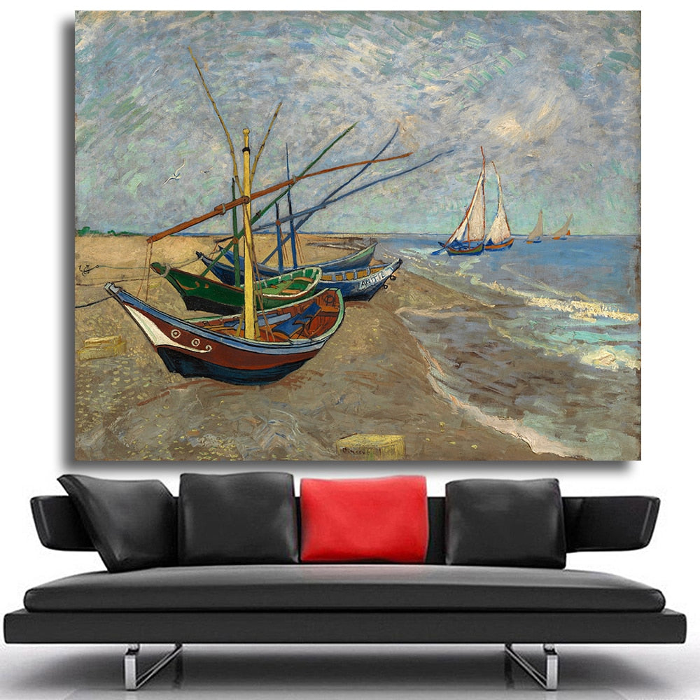 Stylish Colorful Fishing Boat Painting