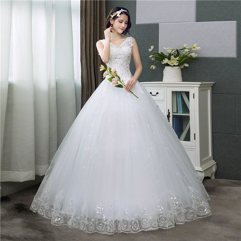 Women's Sleeveless Floral Print Wedding Dress