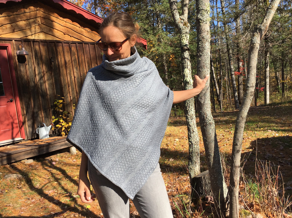 Cable Knit Poncho - Gray