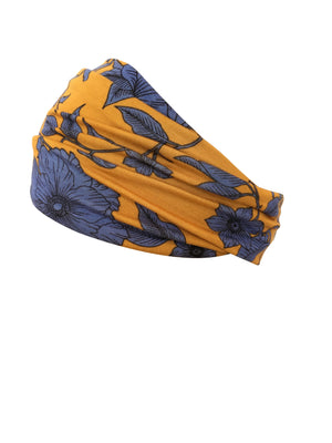 Headband - Indigo Geranium on Mustard