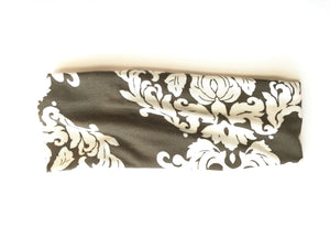 Headband - White Baroque on Olive Green
