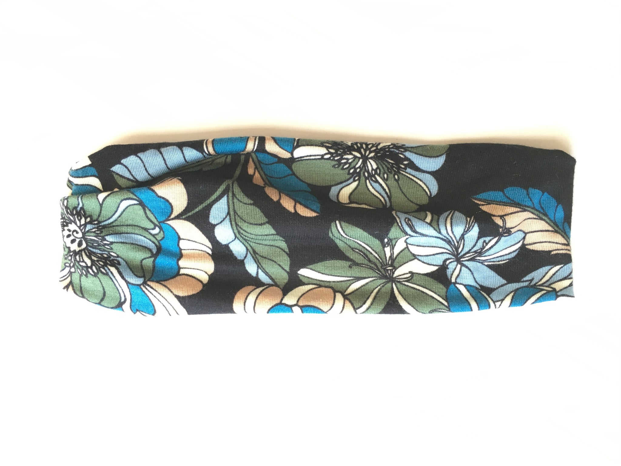 Headband - Retro Blue Olive Floral