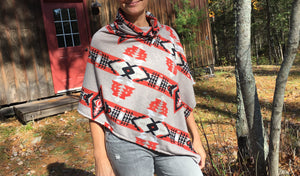 Orange Navajo Poncho