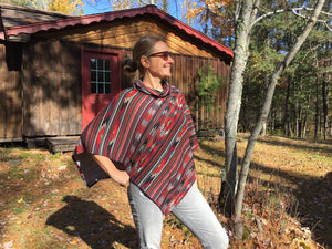 Southwestern red and gray print poncho