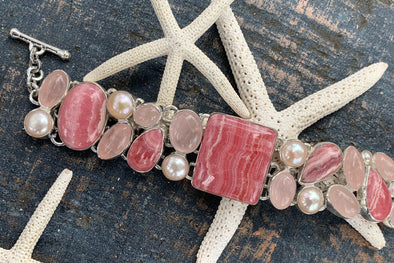 A rhodochrosite bracelet from Beach Treasures in Duck inspires this month's BLOG.