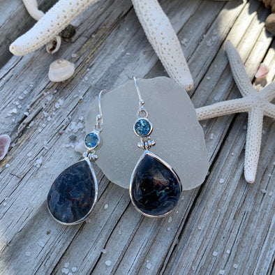 Pietersite and Blue Topaz Earrings - BEACH TREASURES ONLINE