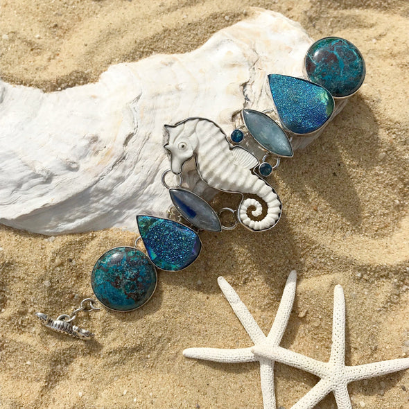 Chris Bales Seahorse Gemstone Bracelet - BEACH TREASURES ONLINE