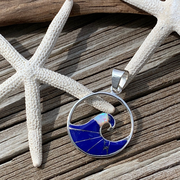Lapis and Crushed Opal Wave Pendant - BEACH TREASURES ONLINE