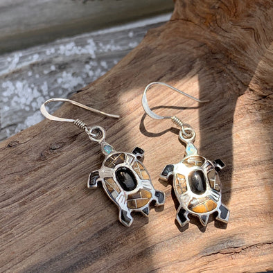 Tiger's Eye and Jasper Turtle Earrings - BEACH TREASURES ONLINE