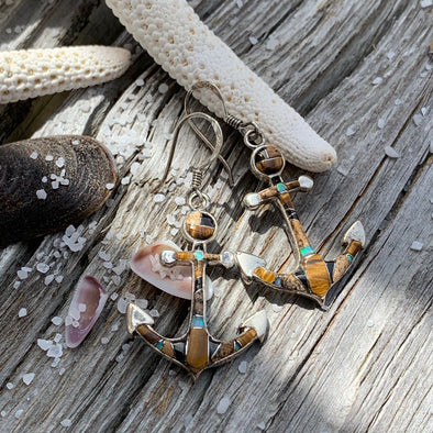 Tiger's Eye and Jasper Anchor Earrings - BEACH TREASURES ONLINE