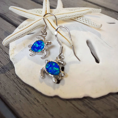 Crushed Opal Turtle Dangle Earrings - BEACH TREASURES ONLINE