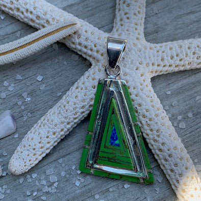 Gaspeite Triangle Pendant - BEACH TREASURES ONLINE