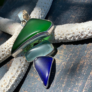 Charles Albert® Green & Blue Recycled Glass Pendant - BEACH TREASURES ONLINE