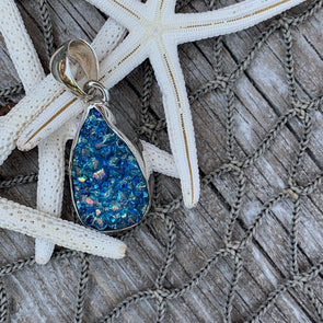 Chris Bales Blue Rainbow Druzy Quartz Pendant - BEACH TREASURES ONLINE