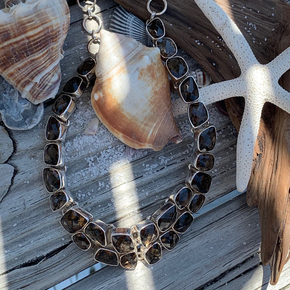 Faceted Smokey Topaz Gemstone Necklace