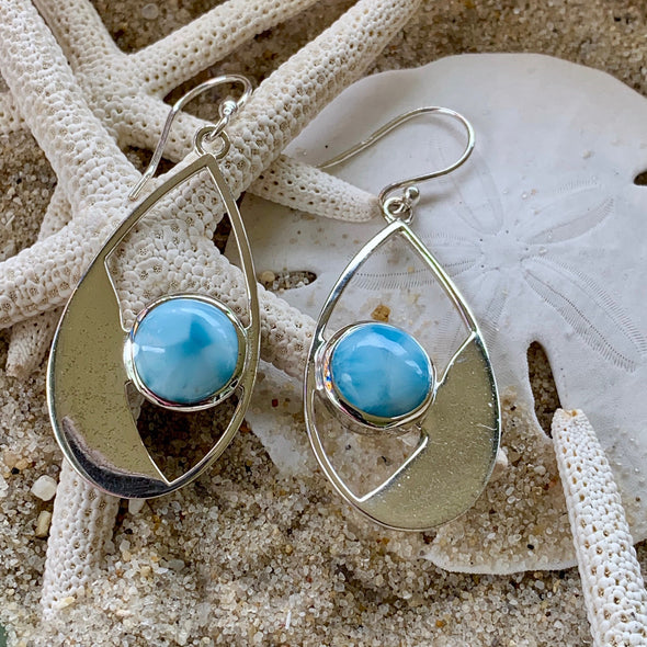 Larimar Stone Earrings - BEACH TREASURES ONLINE