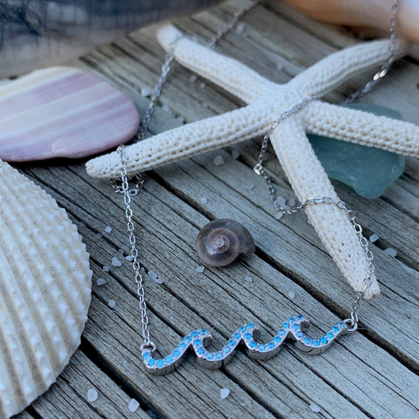 Blue Topaz Waves Necklace