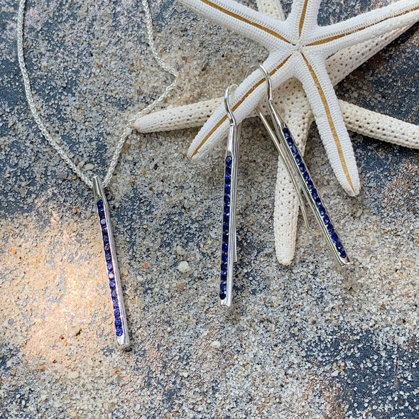 E. L. Designs Sparkler Blue Sapphire Sterling Silver Earrings - BEACH TREASURES ONLINE