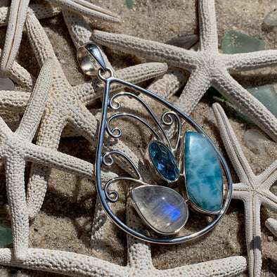 Larimar and Moonstone Pendant - BEACH TREASURES ONLINE