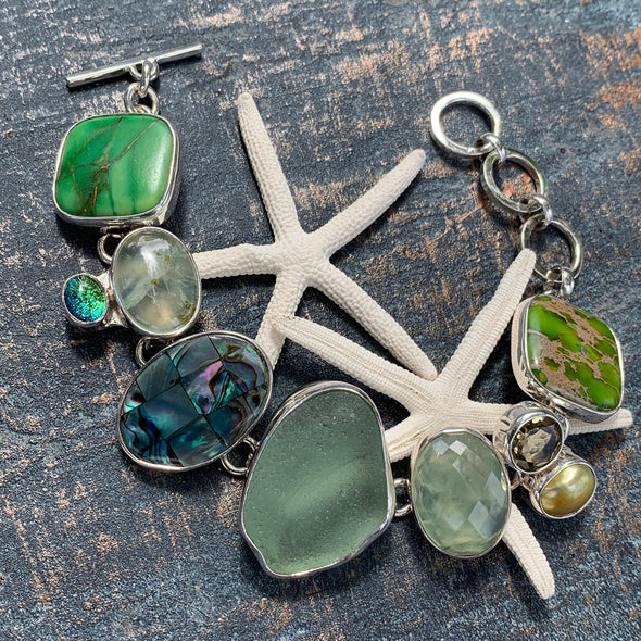 Chris Bales Sea of Green Gemstone Bracelet - BEACH TREASURES ONLINE