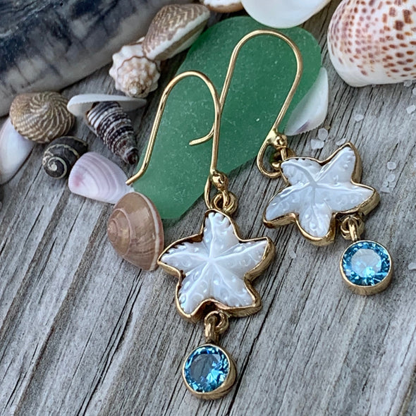 Alchemia by Charles Albert® Mother of Pearl and Blue Topaz Starfish Earrings
