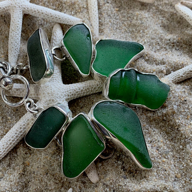 Beach Treasures Green Seaglass Bracelet | BT☆Sterling® - BEACH TREASURES ONLINE