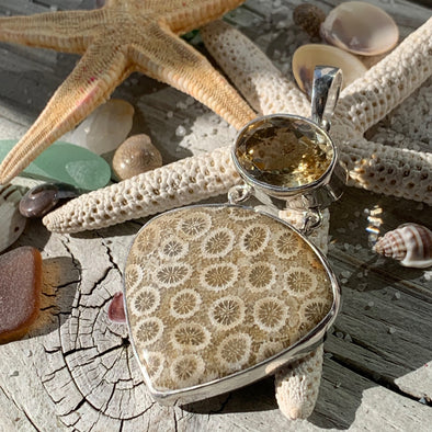 Fossilized Coral and Citrine Pendant