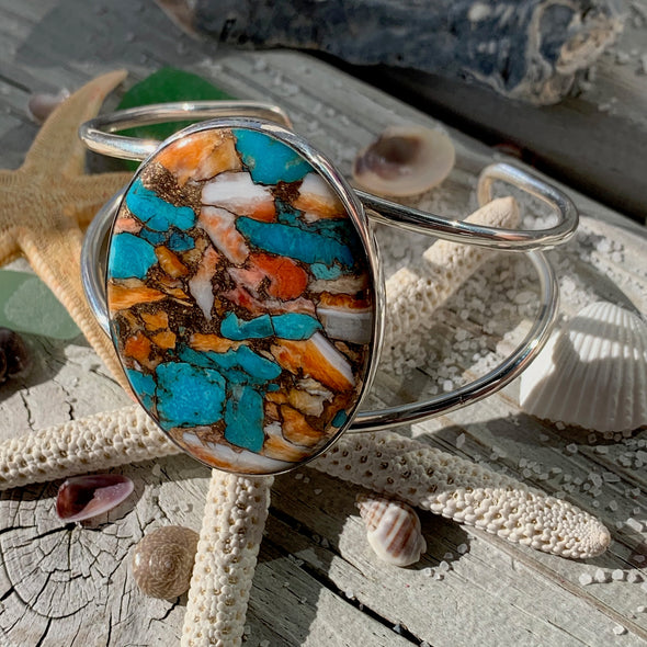 Spiny Oyster and Turquoise Cuff Bracelet