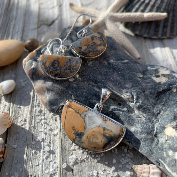 Picture Jasper Earrings and Pendant